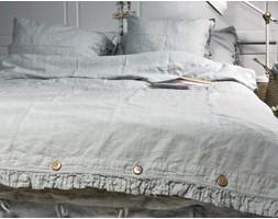 Lniana poszewka na kołdrę z falbanką Pearl Grey