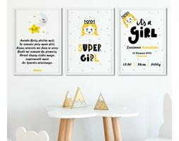 K01 Tryptyk - zestaw 3 plakaty w ramach - modlitwa, metryczka, obrazek