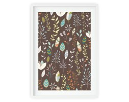 Plakat w ramie Boho Floral Feathers Brown