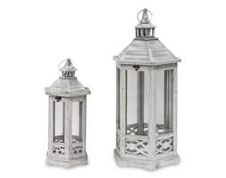 SAMANTA zestaw dwóch lampionów drewnianych wys. 66 cm i 49 cm