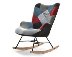 Fotel bujany uszak flori SIBIL z tkaniny patchwork na drewnianych płozach