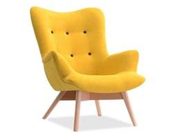 Skandynawski fotel uszak FLORI tkanina żółty