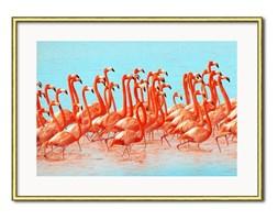 FLAMINGI W WODZIE obraz w złotej ramie, 31x41 cm