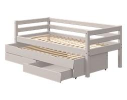 Łóżko Classic z łóżkiem wysuwanym Trundle z 2 szufladami, szary, kółka gumowane,