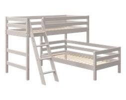 Łóżko półwysokie Classic typu Corner z łóżkiem niskim, drabinka pochyła, sosna s