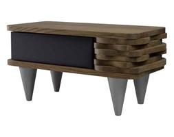 Stolik nocny drewniany ORGANIQUE czarno brązowy 1 szuflada