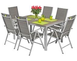 Meble ogrodowe składane aluminiowe MODENA Stół i 6 krzeseł - Srebrny ( uniw)