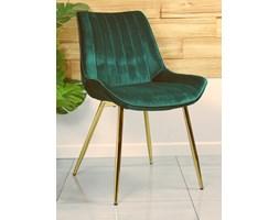 Stylowe krzesło welurowe VERSO butelkowa zieleń ze złotymi nogami