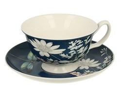 Filiżanka do kawy i herbaty porcelanowa ze spodkiem DUO RABIA MORSKA 200 ml
