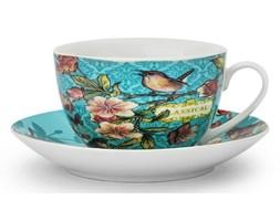 Filiżanka do kawy i herbaty porcelanowa ze spodkiem DUO VENEZIA TURKUSOWA 240 ml