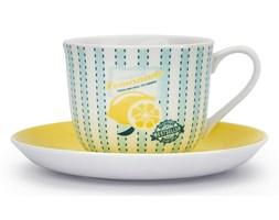 Filiżanka do kawy i herbaty porcelanowa ze spodkiem LEMONIADA MIĘTOWA 430 ml