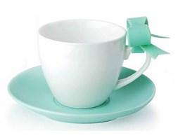 Filiżanki do kawy i herbaty porcelanowe ze spodkami KOKARDKA MIĘTOWE 210 ml 2 szt.