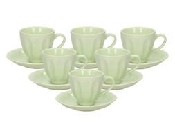 Filiżanki do kawy i herbaty ceramiczne ze spodkami BADEM ZIELONE 160 ml 6 szt.