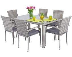 Meble ogrodowe technorattan MALAGA Stół i 6 krzeseł - Szare ( uniw)