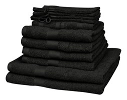 vidaXL Komplet 12 ręczników, bawełna, 500 g/m², czarny