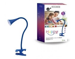 Lampka biurkowa Happy Nilsen z klipsem niebieska