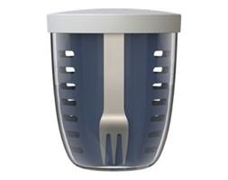 Ciemnoniebiesky pojemnik na przekąski z widelcem Rosti Mepal Ellipse, 600 ml