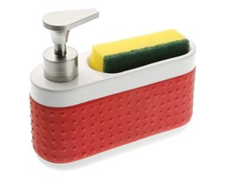 Czerwony dozownik płynu do mycia i uchwyt na gąbki Versa