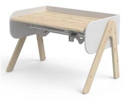 Biało-brązowe biurko z drewna sosnowego z regulacją wysokości Flexa Woody