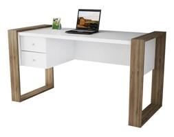 Białe biurko z dekorem drewna orzecha Lord
