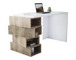 Białe biurko z dekorem drewna orzecha Jenga