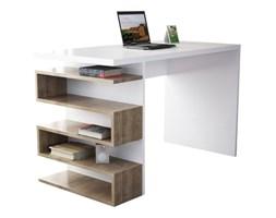 Białe biurko z dekorem drewna orzecha Snake