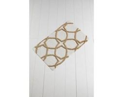 Brązowo-biały dywanik łazienkowy Waves Hexagon, 100x60 cm