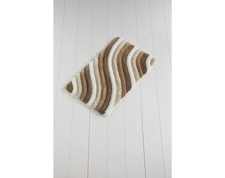 Brązowo-biały dywanik łazienkowy Waves Trismo, 100x60 cm