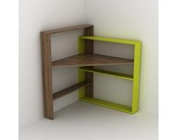Narożne biurko z półkami i zielonymi elementami Rafeli Pisagor