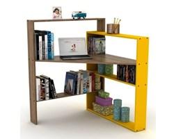 Narożne biurko z półkami z żółtymi elementami Rafeli Pisagor