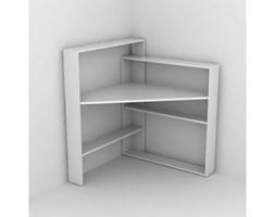 Białe narożne biurko z półkami Rafeli Pisagor