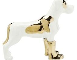 Figurka dekoracyjna Dog in Boots 11x25 cm biało-złota