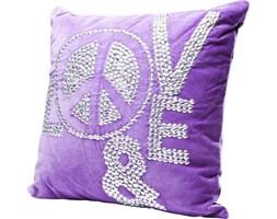 Poduszka dekoracyjna Love and Peace 40x40 cm fioletowa