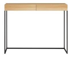 Biurko MAYA na wymiar drewno lite stelaż metalowy czarny