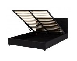 Łóżko z pojemnikiem Eladia 160x200 ekoskóra czarne