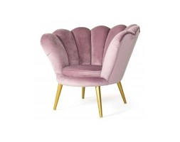 Fotel muszelka do salonu Muse różowy welur