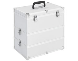 vidaXL Kuferek na kosmetyki, 37 x 24 x 40 cm, srebrny, aluminiowy