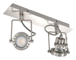vidaXL Lampa z 2 reflektorami, srebrna, GU10