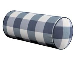 Dekoria Poduszka wałek prosty, granatowo biała krata (5,5x5,5cm), Ø16 × 40 cm, Quadro