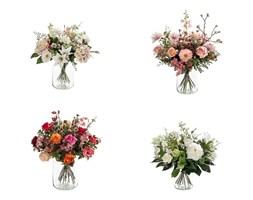 Bukiet ze Sztucznych Kwiatów w Szkle - biało-różowy