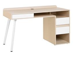 Biurko białe/jasne drewno 130 x 60 cm CARACAS