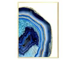 GRANATOWY MINERAŁ ZE ZŁOTEM - GŁEBIA OCEANU II obraz w złotej ramie, 53x73 cm