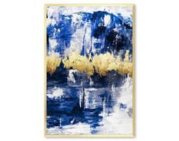 ABSTRAKCJA GRANATOWO - ZŁOTA obraz ręcznie malowany w złotej ramie, 63x93 cm