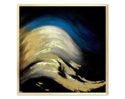 ABSTRAKCJA GRANATOWO - ZŁOTA obraz ręcznie malowany w złotej ramie, 63x63 cm