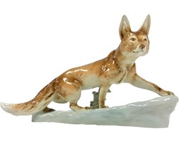 Figurka lisa, Royal Dux Bohemia, Czechy, lata 60.