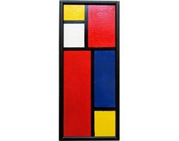 Obraz abstrakcyjny w stylu Mondriana, sygn. N. Punnsen, lata 80.