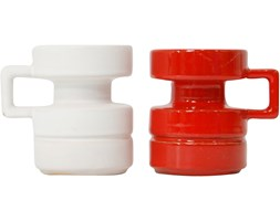 Para ceramicznych świeczników, proj. C. Zalloni, Steuler, lata 60.