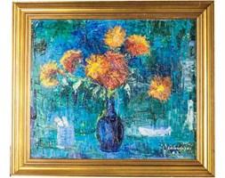 Obraz Kwiaty w błękitnym dzbanie, aut. S. Habrowski
