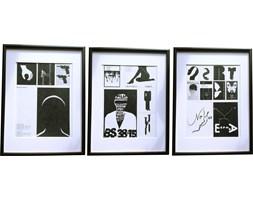 Trzy oprawione kolaże plakatów, aut. M. Wasilewskiego, lata 70.