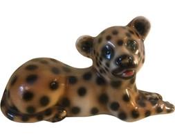 Ceramiczna figurka leoparda, lata 70.